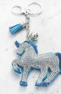 unicorn stripes crystal keyring