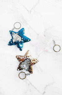 reversible sequins star keyring