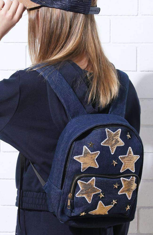 sequin stars studded denim casual backpack