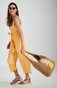 astrid yellow floral shirred 3/4 jumpsuit