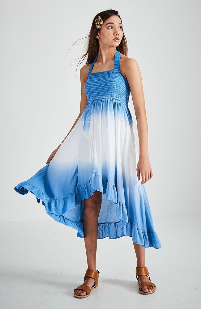 bernice blue and white dip dye ruffle halter dress