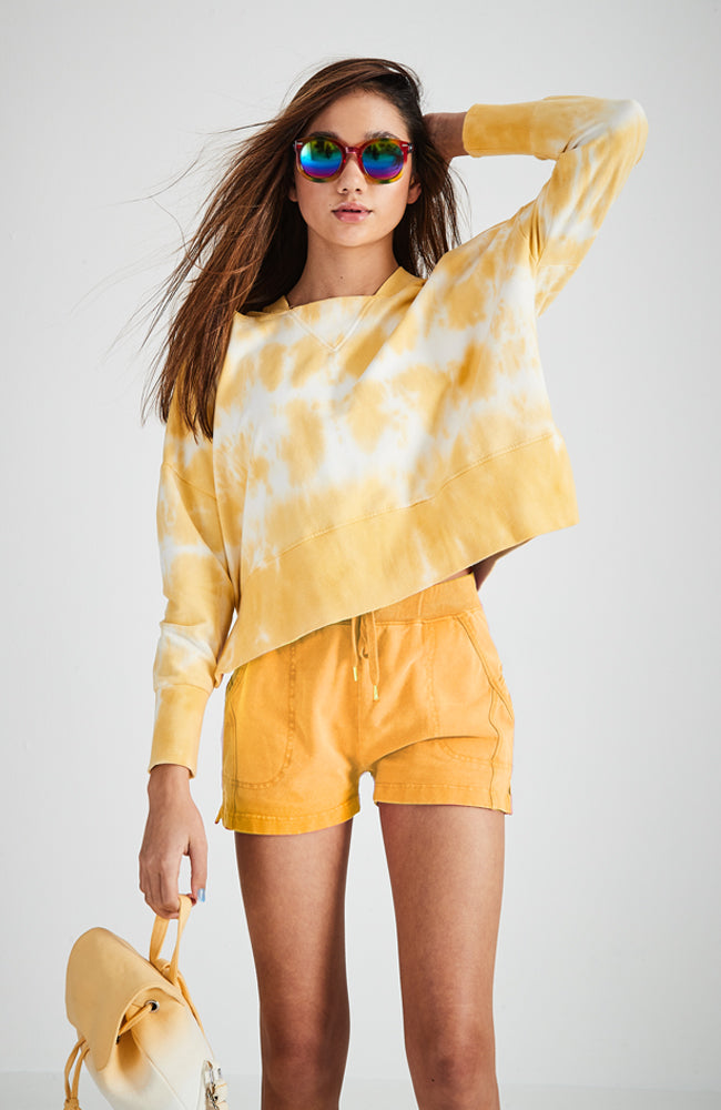 honey tie dye hooded sweat top