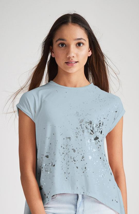 blue silver metallic foil split back splatter tee