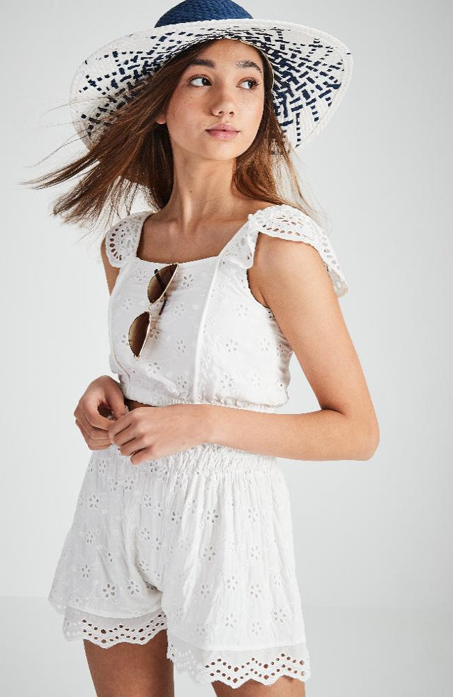 cindi white broderie anglaise lace short