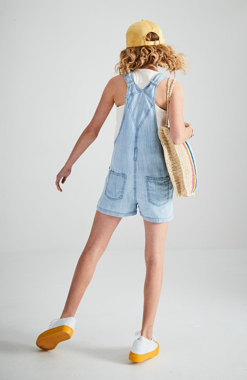kerry light blue washed tencel short overall