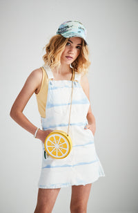 misha white and pale blue tie dye denim pinafore