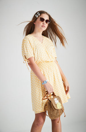 jolie yellow spot short sleeve wrap dress