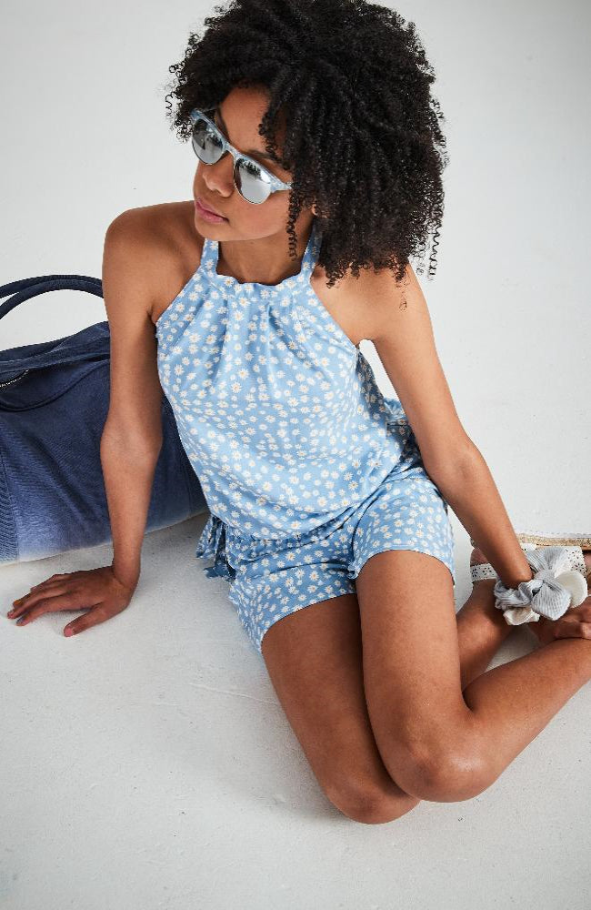 maude blue floral halter playsuit
