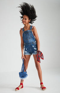 anika blue denim heavy wash short overalls
