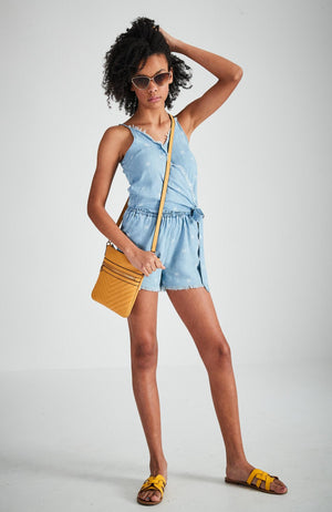 cally blue chambray palm print wrap playsuit
