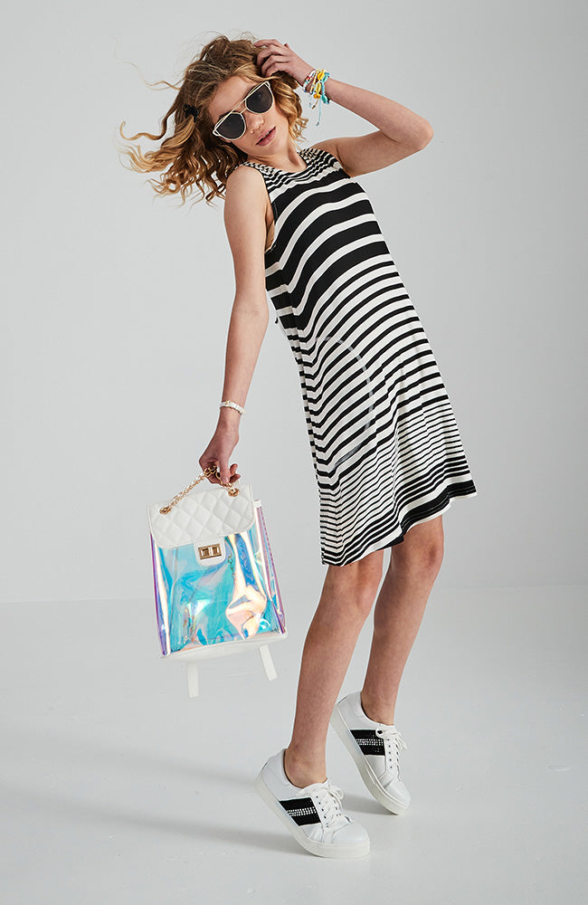 kayla black and white stripped girls tank dress