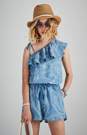 genie blue tencel one shoulder ruffle girls boho playsuit