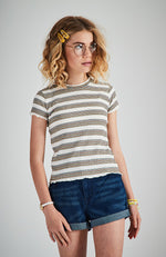 annalynne multi colour stripe ribbed short sleeve girls top