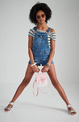 bonnie mid blue distressed denim short overall