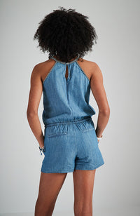 sofia blue chambray embroidered girls boho playsuit