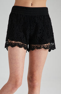 lolly black lace stretch girls short