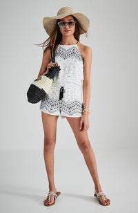 massimo black and white beaded girls boho playsuit