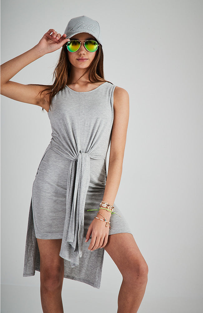 mikka grey marle tie front girls tank dress