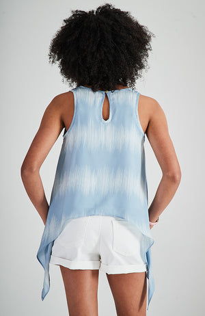 bianca blue and white tie dye print scooped hem girls boho top