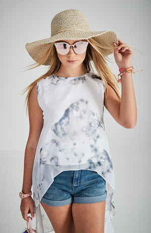 veronica white tie dye high low girls boho top