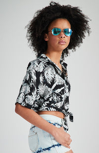juanita black and white pineapple tropical tie front girls shirt top