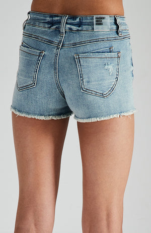 dakota blue distressed and frayed denim short
