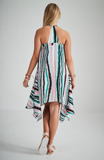 portia pink and green graphic racer back midi party dress