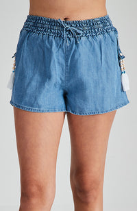 anoushka mid blue chambray beaded girls short