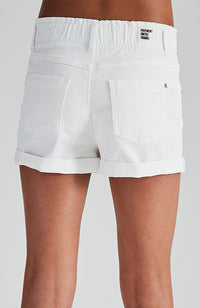 liana white paper bag elastic waist denim short