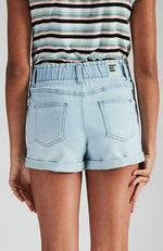 liana blue paper bag elastic waist denim short