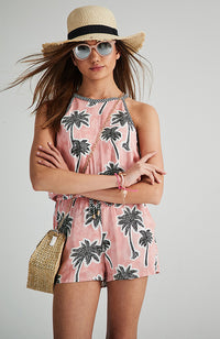 sofia-belle pink palm print girls boho playsuit