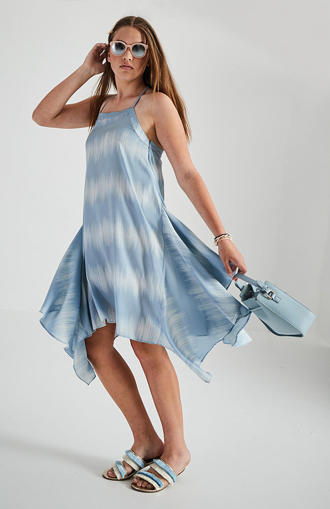 aria blue and white racer back girls midi dress