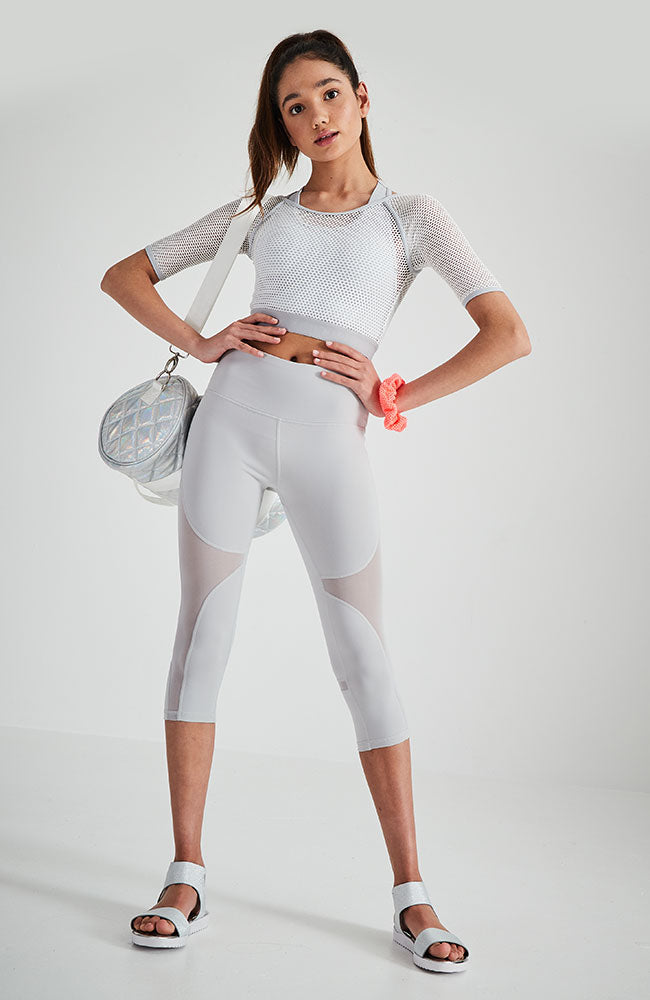 armoni light grey double layer sports mesh active crop top