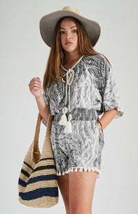 goldie black and cream palm print shired girls boho playsuit