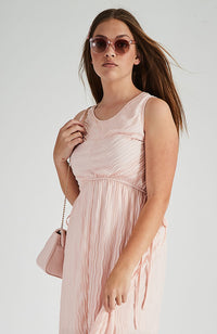 grace pink textured hanky hem midi party dress