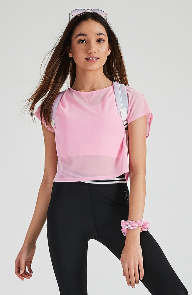 rei pink candy double layer mesh active crop top