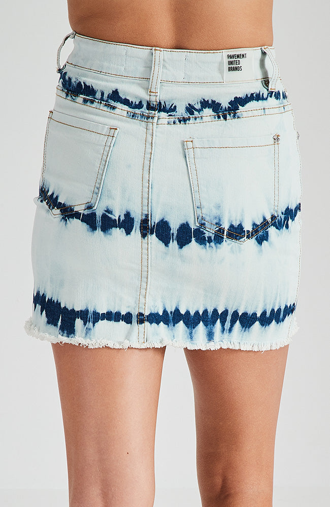 naya white and blue tie dye denim skirt