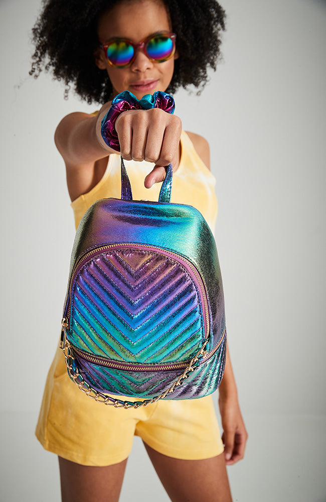 rainbow metallic chevron quilted vegan leather backpack