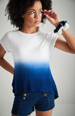 mykonos navy blue and white dip dye high low tee