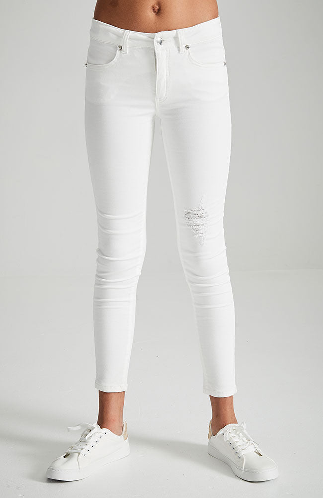 genevieve white high waisted distressed jean