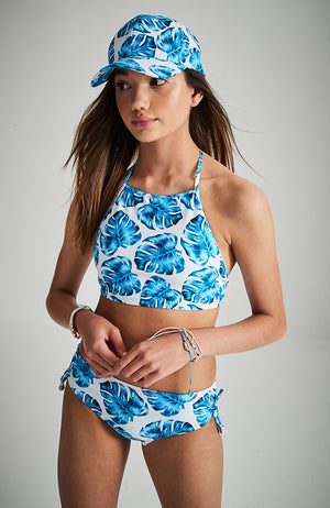 monique blue green leaf print girls halter bikini