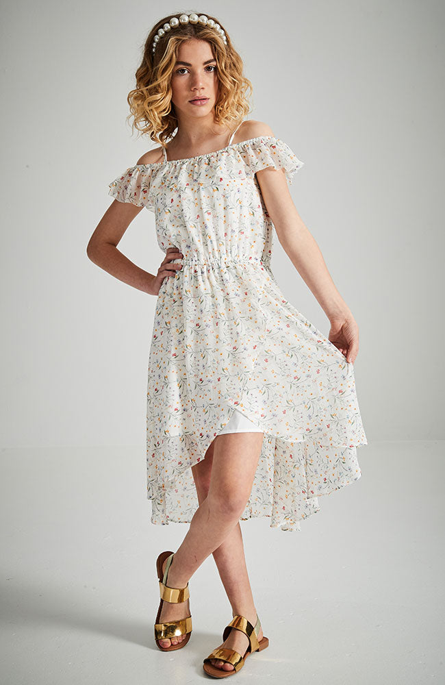 eliana floral ruffle faux wrap dress