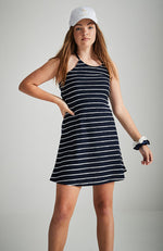 annora navy with white knitted braid halter neck party dress