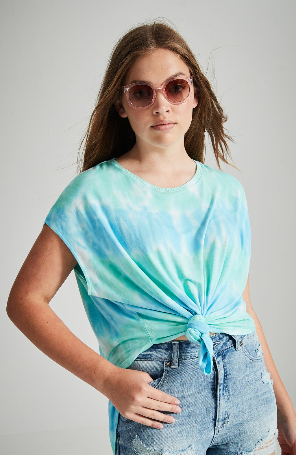 bliss blue and green tie dye slouchy tee