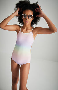 samantha rainbow backless girls one piece swimsuit