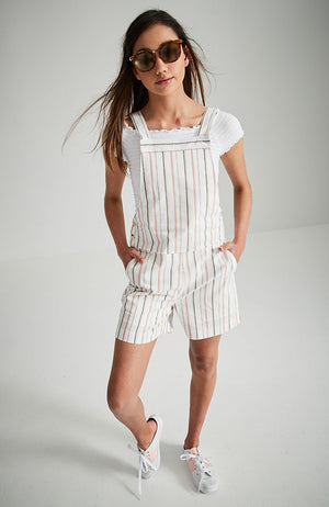 indie cream striped fashion short overall