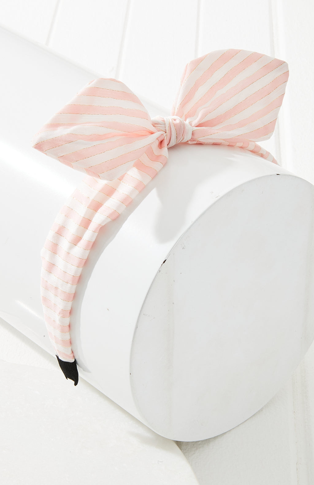 Pastel Striped Top Knot Bow Headband