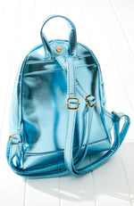 rainbow striped metallic vegan leather backpack