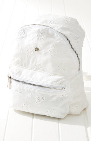 white lace boho broderie anglaise backpack
