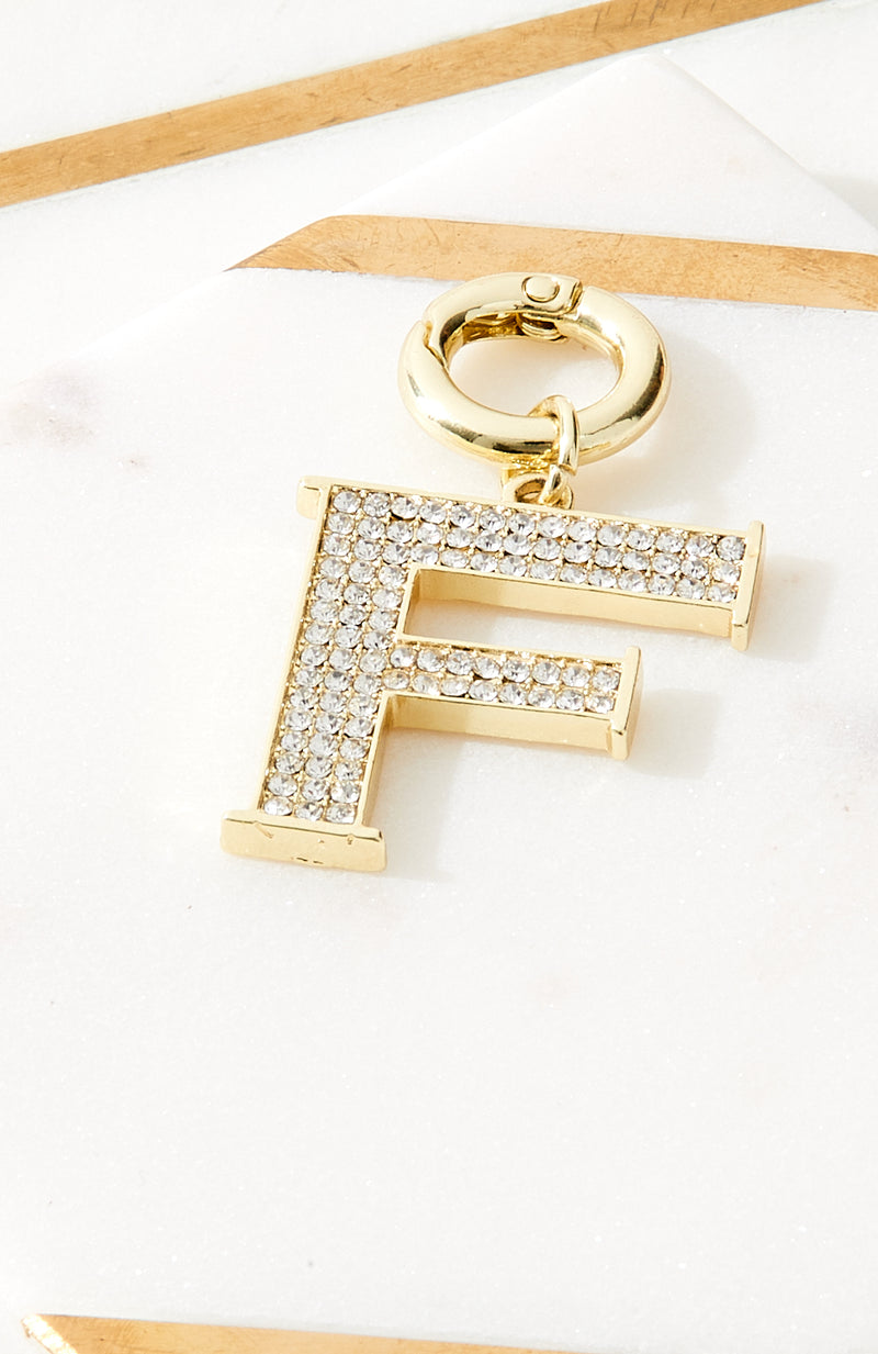 crystal diamond initial gold charm keyring